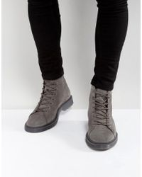 ASOS - Asos Lace Up Boots In Gray Suede With Ribbed Sole - Lyst