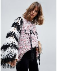 Native Rose - Oversized Flecked Jumper With Fringed Sleeves And Love Slogan - Lyst