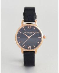 Olivia Burton - Ob16md83 Black Sunray Dial Midi Leather Watch In Black - Lyst