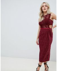 ASOS - Lace Pencil Midi Dress With Frill Pinny Bodice - Lyst