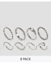 ASOS - Pack Of 8 Woven Band And Stone Rings - Lyst