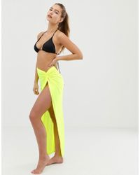 022dab5ec13 ASOS - Knot Front Glam Beach Sarong In Neon Jersey Slinky - Lyst