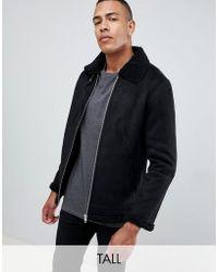 Barneys Originals - Tall Suedette Borg Collar Jacker - Lyst