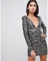 Club L - Sequin Dress In Grey Leopard - Lyst