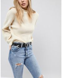ASOS - Design Leather Circle Buckle Jeans Belt With Tipped End - Lyst