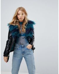 MINKPINK - Midknight Fur Lined Biker Jacket With Faux Fur - Lyst