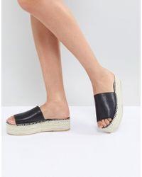 Vagabond - Celeste Black Leather Slide Espadrilles - Lyst