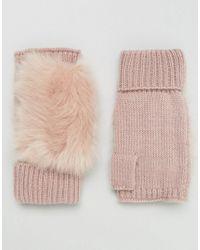 ASOS - Faux Fur & Knit Palmwarmer - Pink - Lyst