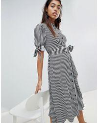 Mango - Stripe Tie Waist Detail Shirt Dress - Lyst