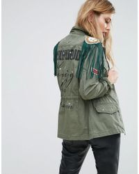 Replay | Hollywood Army Jacket With Stud And Fringing | Lyst
