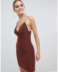 Fashionkilla - Mini Cami Dress In Chocolate - Lyst