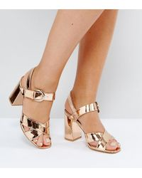 12a80d64088a Truffle Collection - Wide Fit Block Heel Sandals - Lyst
