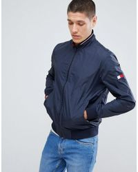 Tommy Hilfiger - Reversible Lightweight Bomber Jacket Sleeve & Chest Flag Logo In Navy/red - Lyst
