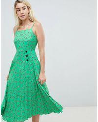ASOS - Design Ditsy Floral Pleated Drop Waist Midi Dress - Lyst