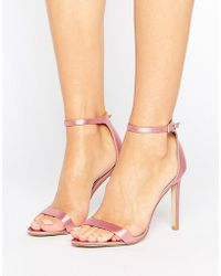 Public Desire - Avril Pink Satin Barely There Heeled Sandals - Lyst