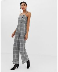UNIQUE21 - Checked Jumpsuit With Buttons And Waist Belt - Lyst