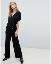 Pimkie - Button Front Jumpsuit In Black - Lyst