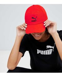 PUMA - Exclusive Logo Cap With Taping In Red - Lyst