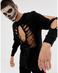 ASOS - Halloween Relaxed Long Sleeve T-shirt With Rib Cage Cut-out In Black - Lyst