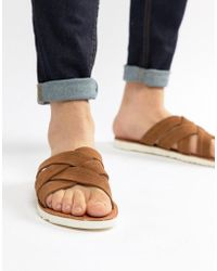 ASOS - Sandals In Tan Suede With Cross Over Straps - Lyst
