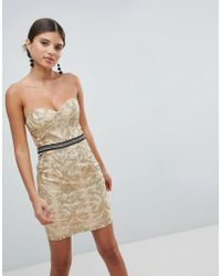 Girl In Mind - Bandeau Embroidered Mini Dress - Lyst