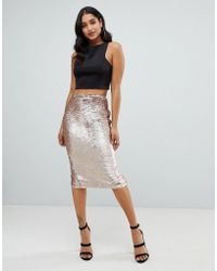 Lipsy - Sequin Embellished Midi Skirt In Gold - Lyst