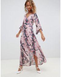 Glamorous - Floral Maxi Wrap Dress - Lyst