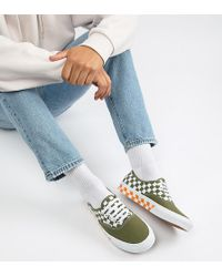 6c9a425a15 Vans - Authentic Checkerboard Plimsolls In Green Exclusive At Asos - Lyst
