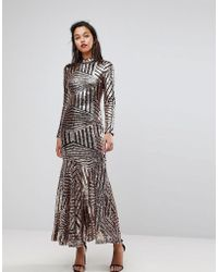 Club L - All Over Sequin Long Sleeve Maxi Dress - Lyst