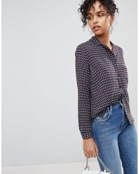 Pepe Jeans - Talya Retro Print Shirt With Rever Collar - Lyst