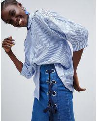 Essentiel Antwerp - Embellished Pinstripe Shirt - Lyst