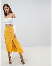 b2ae65d6be ASOS Collection Asos Maxi Skirt with Thigh High Split in Gray - Lyst