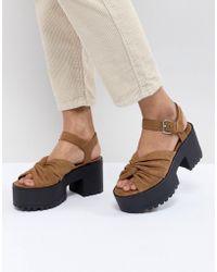 Pull&Bear - Twist Front Sandal In Tan - Lyst