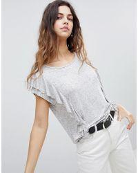 Soaked In Luxury - Ruffle Side Neppy T-shirt - Lyst