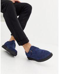 Truffle Collection - Zapato creeper de punta en azul marino - Lyst