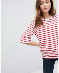 Soaked In Luxury - Stripe T-shirt With Fluted Sleeve - Lyst
