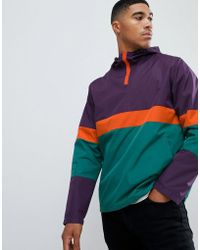 ASOS - Hooded Windbreaker In Colour Block Orange - Lyst