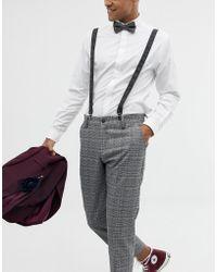 7cc672dbdb052 ASOS DESIGN - Wedding Braces & Bow Tie Set In Charcoal Herringbone And  Plain - Lyst