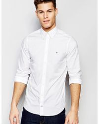 Tommy Hilfiger - Poplin Shirt With Stretch In Slim Fit In White - Lyst