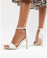 9f74f1613906 Faith Drake White Barely There Mid Heel Sandals in White - Lyst