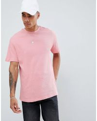 Pull&Bear - T-shirt In Pink With Waffle Texture - Lyst