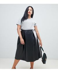ASOS - Asos Design Curve Leather Look Full Midi Skirt With Box Pleats - Lyst
