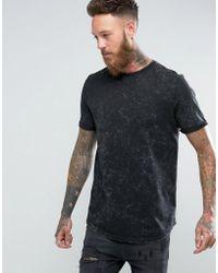 ASOS - Longline T-shirt With Curved Hem In Subtle Acid Wash In Black - Lyst