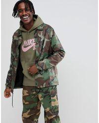Nike - Camo Coach Jacket In Green Ah5505-222 - Lyst