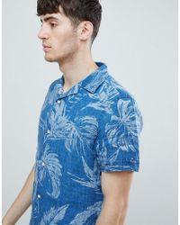 ae44ef01 Tommy Hilfiger - Short Sleeve Indigo Floral Print Shirt Revere Collar In  Indigo Blue - Lyst