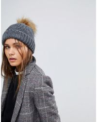 ONLY - Knitted Pom Pom Hat - Lyst