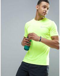 Nike - Dri-fit Miler T-shirt In Volt 833591-702 - Lyst