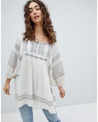 Free People - Wild One Embroidered Smock Top - Lyst