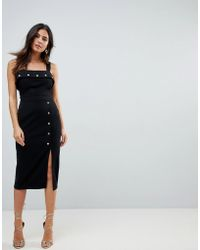 ASOS - Midi Dress With Button Details - Lyst