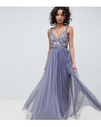 Needle & Thread - Embroidered Bodice Cami Strap Maxi Dress In Vintage Navy - Lyst